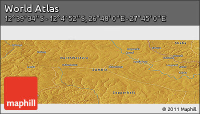 """Physical Panoramic Map of the Area around 12°22'13""""S,27°16'29""""E"""