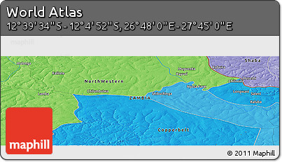 """Political Panoramic Map of the Area around 12°22'13""""S,27°16'29""""E"""