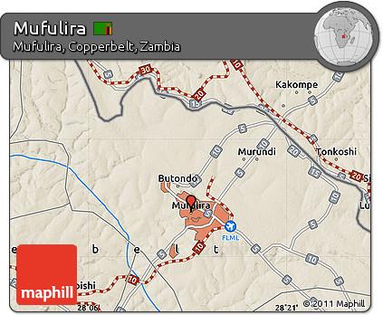Free Shaded Relief Map of Mufulira