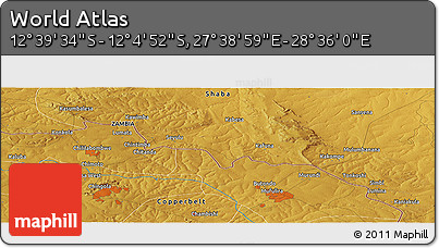 """Physical Panoramic Map of the Area around 12°22'13""""S,28°7'30""""E"""