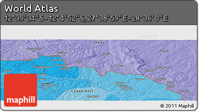 """Political Panoramic Map of the Area around 12°22'13""""S,28°7'30""""E"""