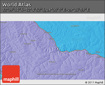 """Political 3D Map of the Area around 12°22'13""""S,28°58'30""""E"""