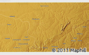 """Physical 3D Map of the area around 12°22'13""""S,30°40'29""""E"""
