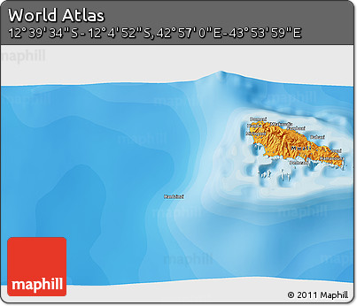 """Political 3D Map of the Area around 12°22'13""""S,43°25'29""""E"""