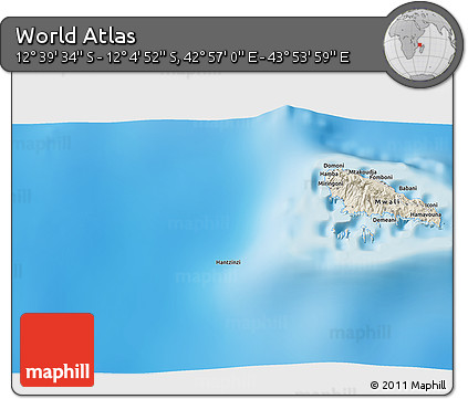 """Shaded Relief 3D Map of the Area around 12°22'13""""S,43°25'29""""E"""