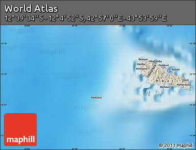 """Shaded Relief Map of the Area around 12°22'13""""S,43°25'29""""E"""