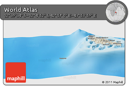 """Shaded Relief Panoramic Map of the Area around 12°22'13""""S,43°25'29""""E"""