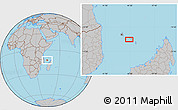 """Gray Location Map of the area around 12°22'13""""S,44°16'29""""E"""