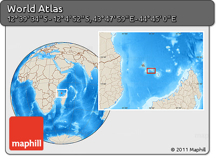 """Shaded Relief Location Map of the Area around 12°22'13""""S,44°16'29""""E"""