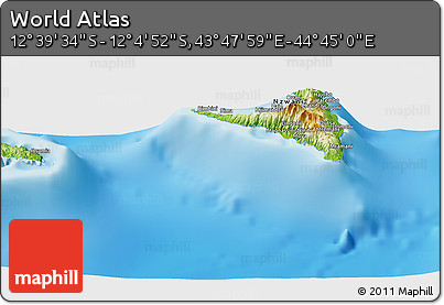"""Physical Panoramic Map of the Area around 12°22'13""""S,44°16'29""""E"""