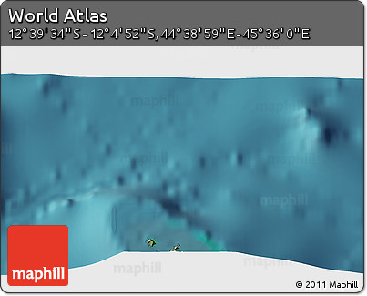 """Satellite 3D Map of the Area around 12°22'13""""S,45°7'30""""E"""