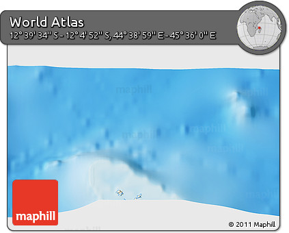 """Shaded Relief 3D Map of the Area around 12°22'13""""S,45°7'30""""E"""