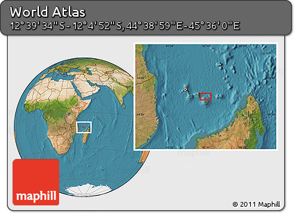 "Satellite Location Map of the Area around 12°22'13""S,45°7'30""E"