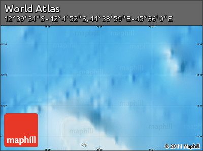 """Shaded Relief Map of the Area around 12°22'13""""S,45°7'30""""E"""