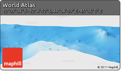 """Shaded Relief Panoramic Map of the Area around 12°22'13""""S,45°7'30""""E"""