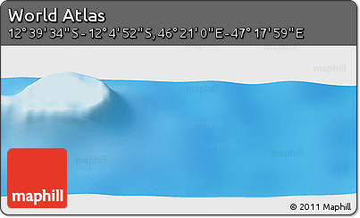 """Shaded Relief Panoramic Map of the Area around 12°22'13""""S,46°49'30""""E"""