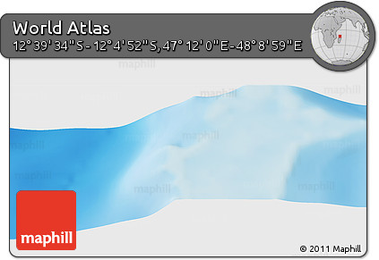 """Shaded Relief Panoramic Map of the Area around 12°22'13""""S,47°40'29""""E"""