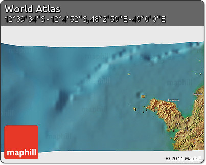 """Satellite 3D Map of the Area around 12°22'13""""S,48°31'29""""E"""