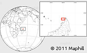 """Blank Location Map of the area around 12°22'13""""S,48°31'29""""E"""