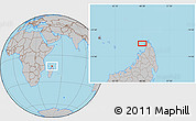 """Gray Location Map of the area around 12°22'13""""S,48°31'29""""E"""