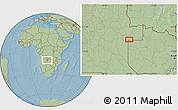 Savanna Style Location Map of Aufale, hill shading