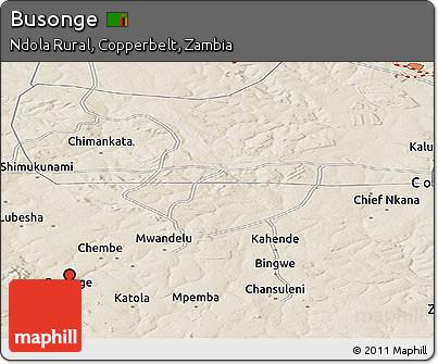 Shaded Relief Panoramic Map of Busonge
