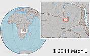 Gray Location Map of Ndola, hill shading