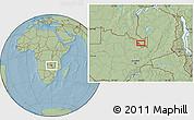Savanna Style Location Map of Ndola, hill shading