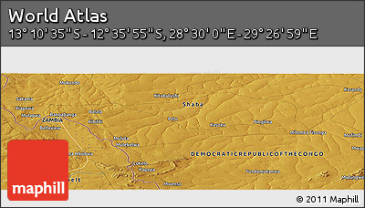 """Physical Panoramic Map of the Area around 12°53'15""""S,28°58'30""""E"""