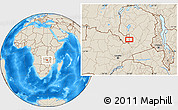 """Shaded Relief Location Map of the area around 12°53'15""""S,29°49'30""""E"""