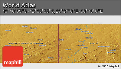 """Physical Panoramic Map of the Area around 12°53'15""""S,29°49'30""""E"""