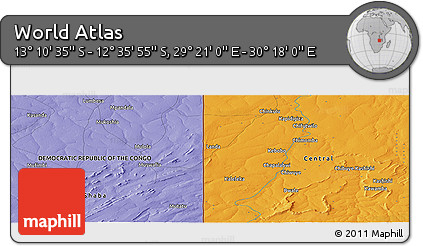 """Political Panoramic Map of the Area around 12°53'15""""S,29°49'30""""E"""