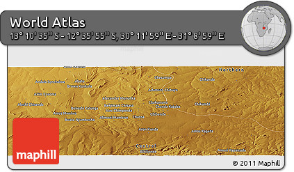 """Physical Panoramic Map of the Area around 12°53'15""""S,30°40'29""""E"""