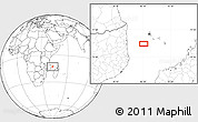 """Blank Location Map of the area around 12°53'15""""S,42°34'30""""E"""