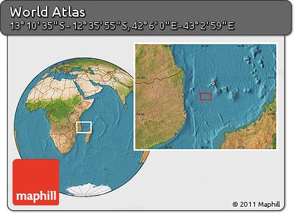 "Satellite Location Map of the Area around 12°53'15""S,42°34'30""E"