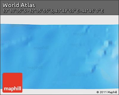 """Shaded Relief 3D Map of the Area around 12°53'15""""S,44°16'29""""E"""