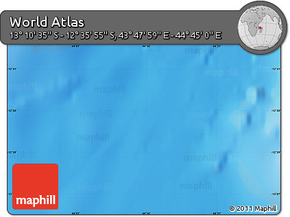 """Shaded Relief Map of the Area around 12°53'15""""S,44°16'29""""E"""