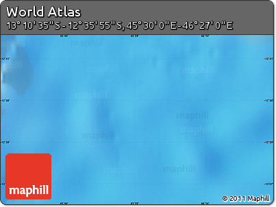 """Shaded Relief Map of the Area around 12°53'15""""S,45°58'30""""E"""