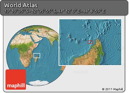 "Satellite Location Map of the Area around 12°53'15""S,47°40'29""E"