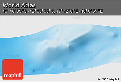 """Physical Panoramic Map of the Area around 12°53'15""""S,47°40'29""""E"""