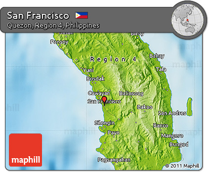 Free Physical Map of San Francisco