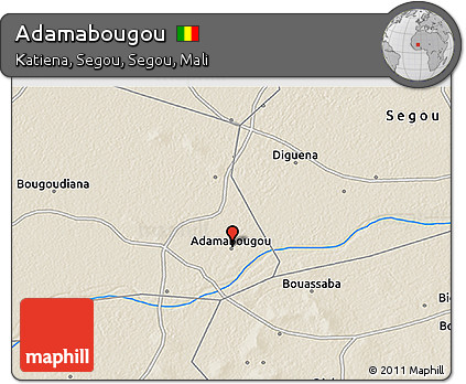 Free Shaded Relief 3D Map of Adamabougou