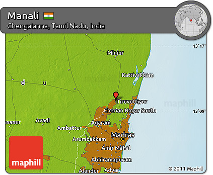 Manali India Map.Free Physical Map Of Manali