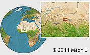 Satellite Location Map of Téra