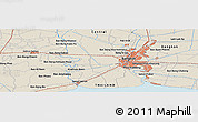 Shaded Relief Panoramic Map of Bangkok