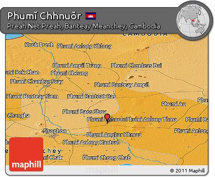 Political Panoramic Map of Phumĭ Chhnuŏr