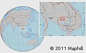 Gray Location Map of Phumĭ Bântéay Srei, hill shading