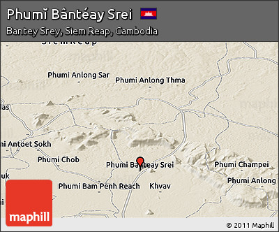 Shaded Relief Panoramic Map of Phumĭ Bântéay Srei