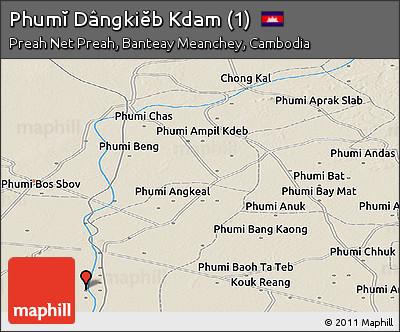 Shaded Relief Panoramic Map of Phumĭ Dângkiĕb Kdam (1)