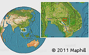 """Satellite Location Map of the area around 13°44'54""""N,104°37'30""""E"""